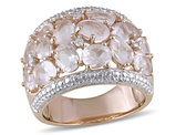 Synthetic Rose Pink Quartz Fashion Ring 6 Carat (ctw) in Pink Plated Sterling Silver with Accent Diamonds