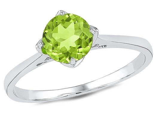 Solitaire Lab Created Peridot Ring 7/8 Carat (ctw) in Sterling Silver