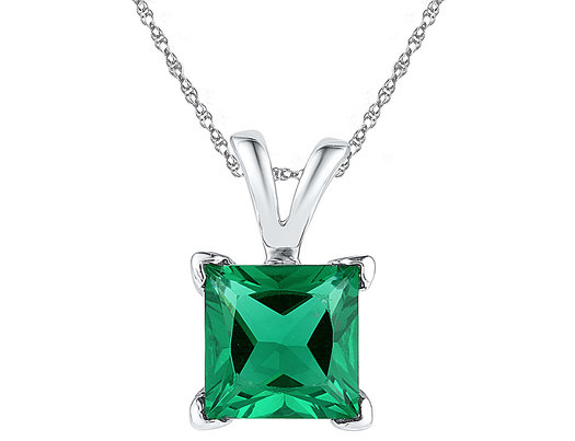 Lab Created Solitaire Princess Cut Emerald Pendant Necklace 1.30 Carat (ctw) in 10K White Gold with Chain