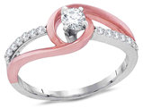 Diamond Engagement Ring 1/3 Carat (ctw Color H-I Clarity I1-I2) in 10K White and Pink Gold