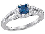 Enhanced Blue Diamond Engagement Ring 3/4 Carat (ctw Clarity I2-I3) in 10K White Gold