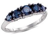 1.00 Carat (ctw) Enhanced Blue Diamond Five Stone Anniversary Ring in 10K White Gold