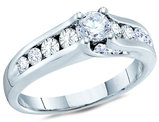 Diamond Engagement Ring 1.00 Carat (ctw Color G-H Clarity I1) in 14K White Gold