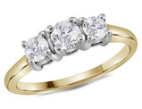 3/4 Carat (ctw Color G-H, Clarity I1) Three Stone Diamond Anniversary Engagement Ring in 14K Yellow & White Gold