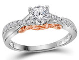 Diamond Engagement Ring 5/8 Carat (ctw Color G-H Clarity I1) in 14K White and Pink Gold