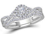 1/2 Carat (ctw Color H-I, I1-I2) Diamond Engagement Twist Ring Bridal Wedding Set in 10K White Gold