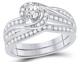 1/2 Carat (ctw H-I, I1-I2) Diamond Engagement Swirl Ring Bridal Wedding Set in 10K White Gold