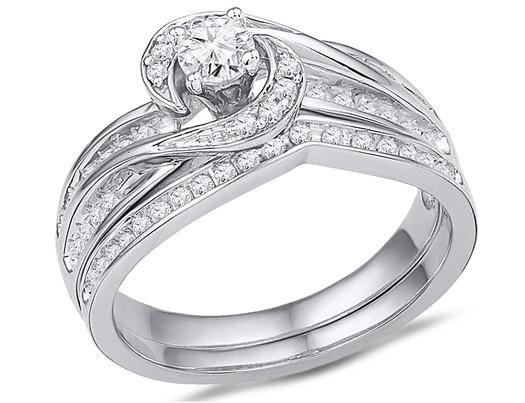 1/2 Carat (ctw Color H-I, I1-I2) Diamond Engagement Ring Bridal Wedding Set in 10K White Gold