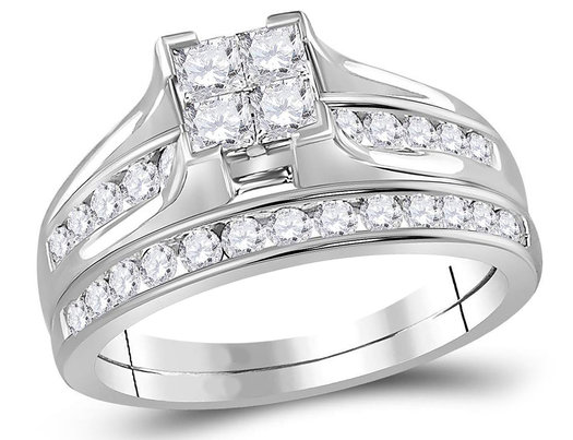 Princess Cut Diamond Engagement Ring Wedding Set 1.00 Carat (Color I-J, I2) in 14K White Gold