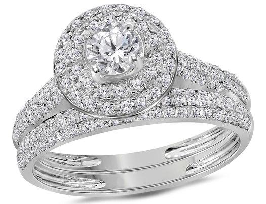 Diamond Engagement Ring Wedding Set 1.00 Carat (Color I-J, I2) in 14K White Gold