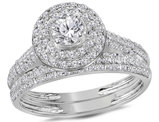1.00 Carat (I-J, I2) Diamond Engagement Ring Wedding Set in 14K White Gold