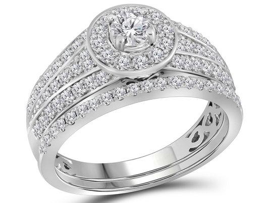 Diamond Engagement Halo Ring Wedding Set 1.00 Carat (Color G-H, I1) in 14K White Gold