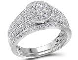 1.00 Carat (ctw H-I, I1-I2) Diamond Engagement Halo Ring Wedding Set in 14K White Gold
