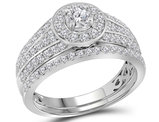 Diamond Engagement Halo Ring Wedding Set 1.00 Carat (Color G-H, I1) in 14K White Gold