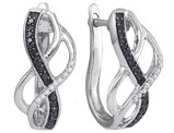 Sterling Silbver Enhanced Black and White Diamond Hoop Earrings 1/4 Carat (ctw)