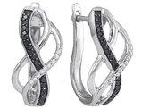 Sterling Silbver Enhanced Black and White Diamond Hoop Earrings 1/4 Carat (ctw I2-I3)