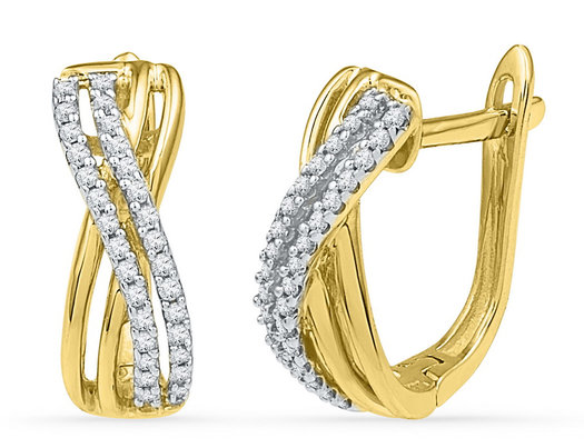 Diamond Huggy Hoop Earrings 1/5 Carat (ctw J-K, I2-I3) in 10K Yellow Gold