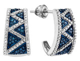 1/12 Carat (ctw) Enhanced Blue Diamond J-Hoop Earrings in 10K White Gold