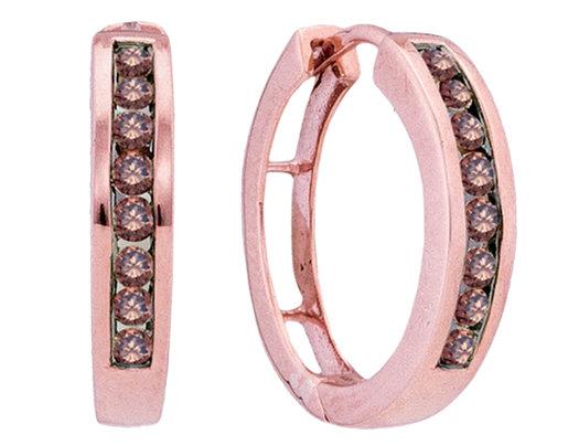 1/2 Carat Color Enhanced Champagne Diamond Hoop Earrings in 10K Rose Pink Gold