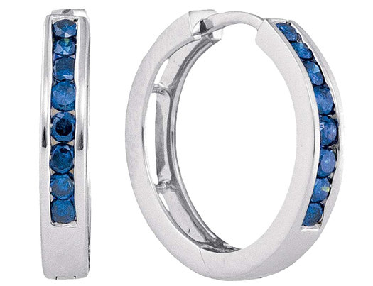 1/2 Carat Color Enhanced Blue Diamond Hoop Earrings in 10K White Gold