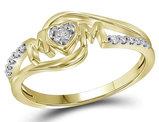 Diamond Heart MOM Ring in 14K Yellow Gold 1/12 Carat (ctw)
