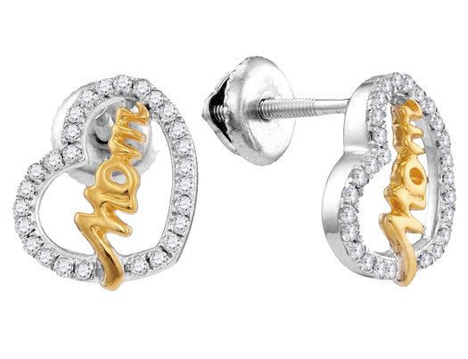 Diamond Heart MOM Stud Earrings 1/3 Carat (ctw) in 10K White and Yellow Gold
