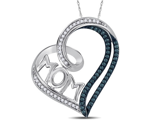 Heart MOM Pendant Necklace in Sterling Silver with Chain With Enhanced Blue and White Diamonds 1/5 Carat (ctw)