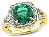 Lab Created Emerald 4.00 Carat (ctw) Ring in 10K Yelllow Gold with Diamonds 1/6 Carat (ctw)
