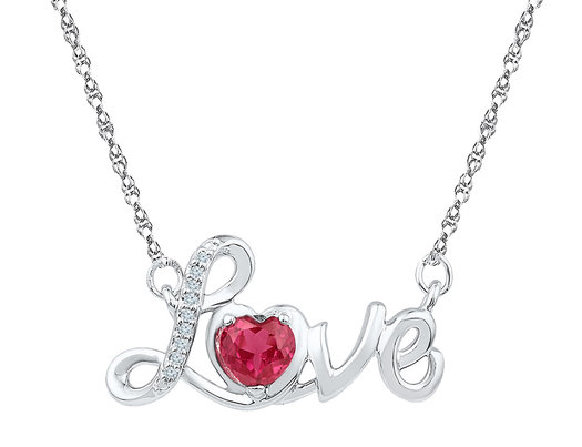 Sterling Silver LOVE Heart Lab Created Ruby 1/2 Carat (ctw) Necklace