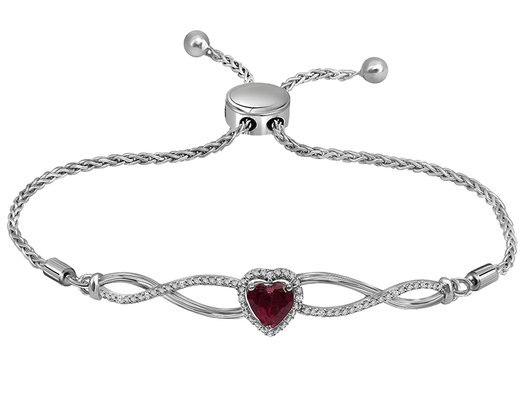 Sterling Silver Lab Created Heart Ruby Bolo Bracelet 1/2 Carat (ctw)