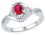 Lab Created Ruby 5/8 Carat (ctw) Twist Ring in 10K White Gold wth Diamonds 1/8 carat (ctw)