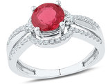Lab Created Ruby 1.75 Carat (ctw) Solitaire Ring in 10K White Gold wth Diamonds 1/3 Carat (ctw)