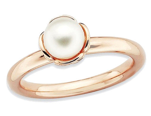 Freshwater Cultured Pearl Ring in Rose Pink Plated Sterling Silver