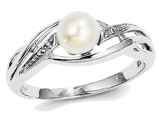 Freshwater Cultured Pearl Ring 6mm in Sterling Silver with Accent Diamonds