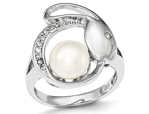 Freshwater Cultured Button Pearl Ring 8mm with Synthetic Cubic Zirconia in Sterling Silver
