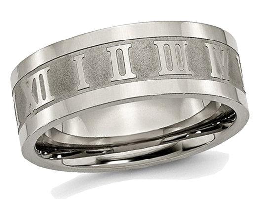 Men's Titanium Roman Numerals 8mm Satin Flat Wedding Band