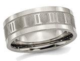 Men's Titanium Roman Numerals 8mm Satin Flat Wedding Band Ring