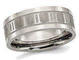 Men's Titanium Roman Numerals 8mm Satin Flat Wedding Band