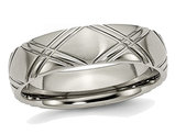 Men's Titanium Criss Cross 6mm Brushed and Polished Wedding Band