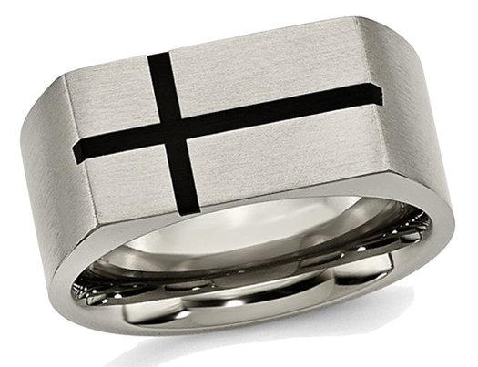 Men's Chisel Titanium 10mm Black Enamel Cross Brushed Wedding Band