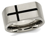 Men's Chisel Titanium 10mm Black Enamel Cross Brushed Wedding Band