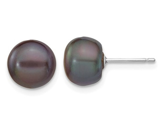 14K Whte Gold Freshwater Cultured Black Button Pearl 8-9mm Solitaire Stud Earrings