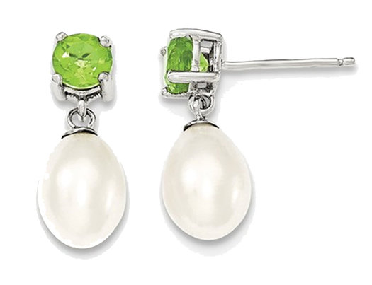 Sterling Silver Freshwater Cultured White Pearl 7-8mm Drop Earrings with Green Peridots