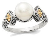 Freshwater Cultured White Pearl Ring 8mm in Sterling Silver with 14K Gold Accents