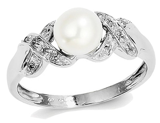 Sterling Silver Freshwater Cultured White Pearl Ring