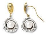 14K Two Tone Gold White Freshwater Cultured Pearl Dangle Earrings