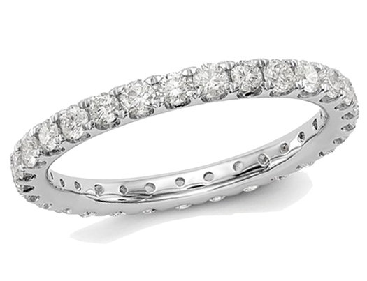 1.00 Carat (ctw Color H-I, SI2-I1) Diamond Eternity Wedding Band in 14K White Gold Ring