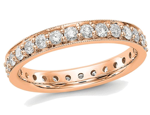 1.00 Carat (ctw Color H-I, SI2-I1) Diamond Eternity Wedding Band in 14K Rose Pink Gold