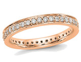 1/2 Carat (ctw Color H-I, SI2-I1) Ladies 14K Rose Pink Gold Diamond Eternity Wedding Band