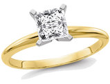 9/10 Carat (ctw 1.00 Ct. Look) Princess Cut Synthetic Moissanite Solitaire Engagement Ring 14K Yellow Gold